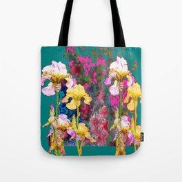 Decorative Yellow & Pink Spring Teal Iris Garden Tote Bag