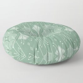Art Deco Botanical Leaf Shapes Green Floor Pillow