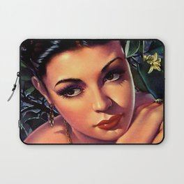 Jesus Helguera Painting of a Sultry Spanish Calendar Girl Laptop Sleeve
