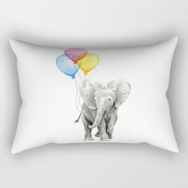 Baby Elephant with Balloons Nursery Animals Prints Whimsical Animal Rectangular Pillow