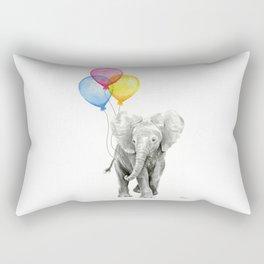 Baby Elephant with Balloons Nursery Animals Prints Whimsical Animal Rectangular Pillow