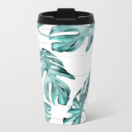 Turquoise Palm Leaves on White Wood Metal Travel Mug