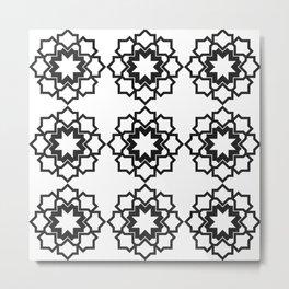 Abstract geometric flowers pattern black Metal Print
