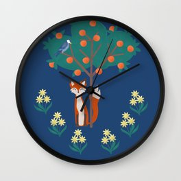 Fox and a Persimmon Tree Wall Clock