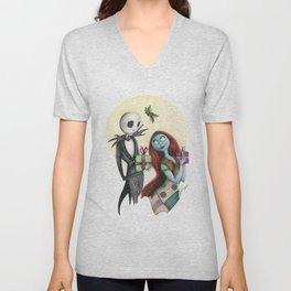 Jack and Sally Merry Christmas Unisex V-Neck