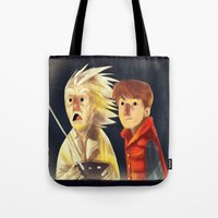 back to the future Tote Bags featuring Back to the future by Peerro