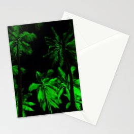Night green palm trees Stationery Cards