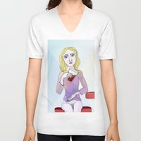 coca cola V-neck T-shirts featuring Coca Cola by The Bravo Sisters Art