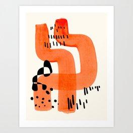 Fun Abstract Minimalist Mid Century Modern Orange Brush Strokes Watercolor Black Pattern Art Print