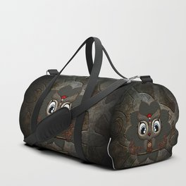 Cute little steampunk owl with floral elements Duffle Bag