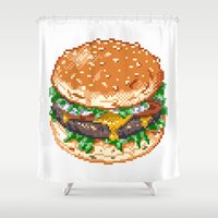 burger Shower Curtains featuring Burger by noirlac