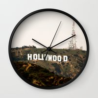 hollywood Wall Clocks featuring Hollywood by Claire Jantzen