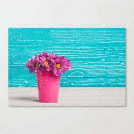 Pink Flowers x Turquoise Wood Canvas Print
