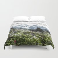 tolkien Duvet Covers featuring Alpine Wildflowers Tolkien Quote  by Elliott's Location Photography