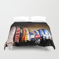 surfboard Duvet Covers featuring Surfboard lane, Waikiki  by INKEDDESIGNS
