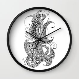 Zentangle art 1, abstract graphic-design, Black and white, ink handdrawing Wall Clock
