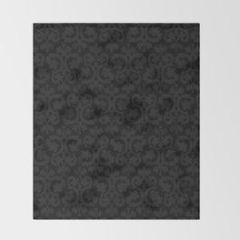 Black and Dark Grey Damask Pattern Throw Blanket