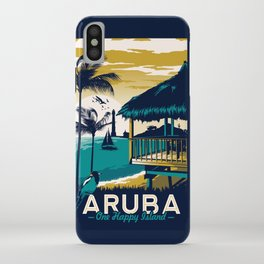 aruba vintage travel poster iPhone Case