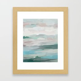 Sage Green Sky Blue Blush Pink Abstract Nature Sky Wall Art, Water Land Painting Print Framed Art Print
