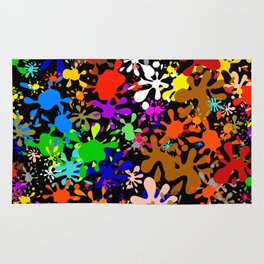Colourful Fun Paint Blots and Stains Rug