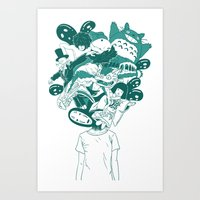 studio ghibli Art Prints featuring Studio ghibli mash up by Herdhi
