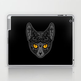 Gray Day of the Dead Sugar Skull Cat Laptop & iPad Skin