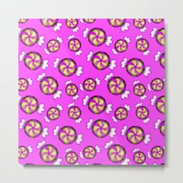 Cute lovely sweet decorative Christmas caramel chocolate candy in shiny wrappers pattern Metal Print