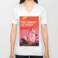 vonnegut V-neck T-shirts featuring Vonnegut -  The Sirens of Titan by Neon Wildlife