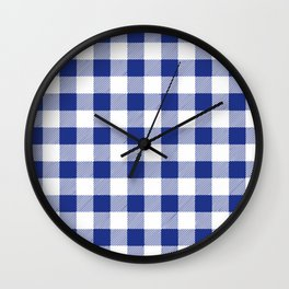 Gingham Holiday Blue Wall Clock