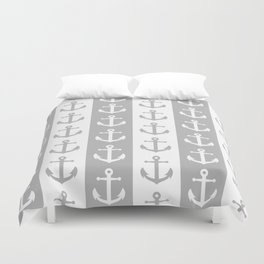 Nautical Sailor Stripes with Anchor Pattern Gray 241 Duvet Cover