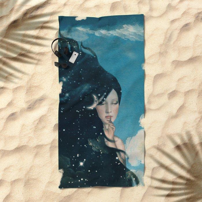 Shhh...Lady Night Is Coming Beach Towel