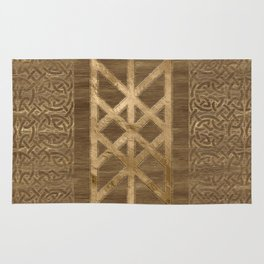 Web of Wyrd The Matrix of Fate - Gold and Wood Rug