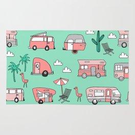 Camper summer vacation tropical pattern RV van life print by andrea lauren Rug