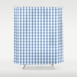 Classic Pale Blue Pastel Gingham Check Shower Curtain