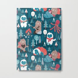 Besties // blue background white Yeti brown Bigfoot blue pine trees red and coral details Metal Print