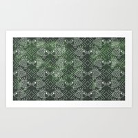 Indonesian Batik Green Fish Pattern Art Print