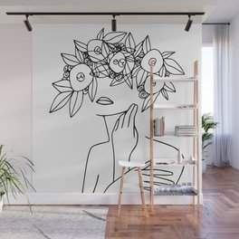 Woman With Floral Wreath  Minimal Line Art  #society6 #buyart Wall Mural