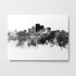 Rochester NY skyline in black watercolor Metal Print