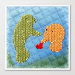 Manatee Love Canvas Print