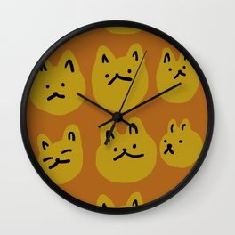 Weird Cat Faces - Sienna brown and burnt mustard Wall Clock
