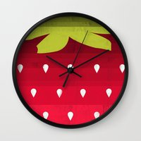 strawberry Wall Clocks featuring Strawberry by Kakel