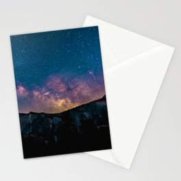 Milky Way Mountains Deep Pastels Stationery Cards