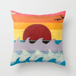 Paper Sunset Throw Pillow