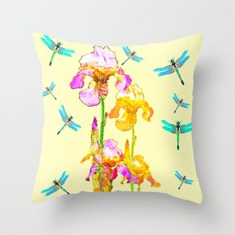 GOLDEN PURPLE IRIS & BLUE DRAGONFLIES Throw Pillow