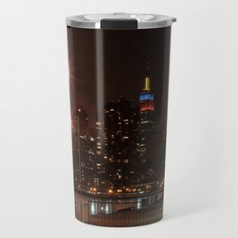 Empire state building with colombian flag Travel Mug