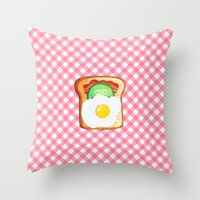 novelty Throw Pillows featuring Good morning by Anna Alekseeva kostolom3000