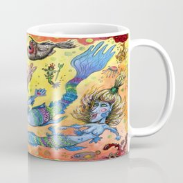Blue-Finned Mermaids watercolor Coffee Mug
