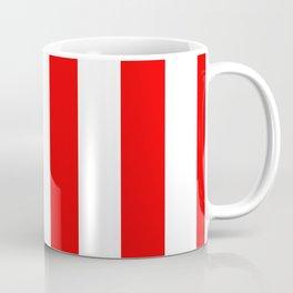 Jumbo Berry Red and White Rustic Vertical Cabana Stripes Coffee Mug