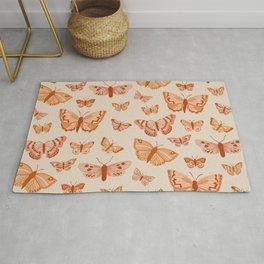 Terracotta Orange Butterflies Rug