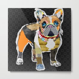 French Bulldog Colorful Dog Collage Art by Keck Metal Print